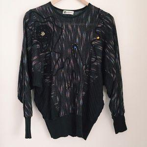 Sweaters - Vintage 80s embellished dolman sweater